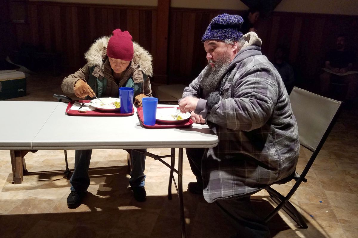 "Izzie (Carolyn Garcia) and Ike (George Holly) appear in ""Home but not Less"" at Holy Trinity Church in Juneau in late January. (Erika Stone)"