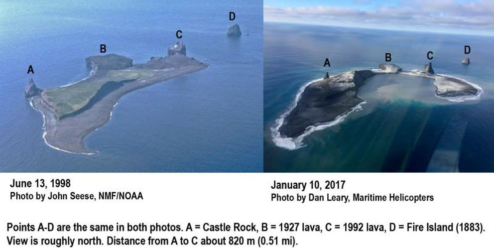 Comparison of Bogoslof Island, 1998 to 2017, showing changes in the configuration of the island as a result of the ongoing 2016-17 eruption. Points A-D are the same in both photos. Direction of view is toward the north-northwest. Distance from A-C about 820 m (0.51 mi). Zone of upwelling and likely location of the active vent in center left of open embayment. (1998 photo courtesy of John Seese, National Marine Fisheries/NOAA. 2017 photo courtesy of Dan Leary, Maritime Helicopters)
