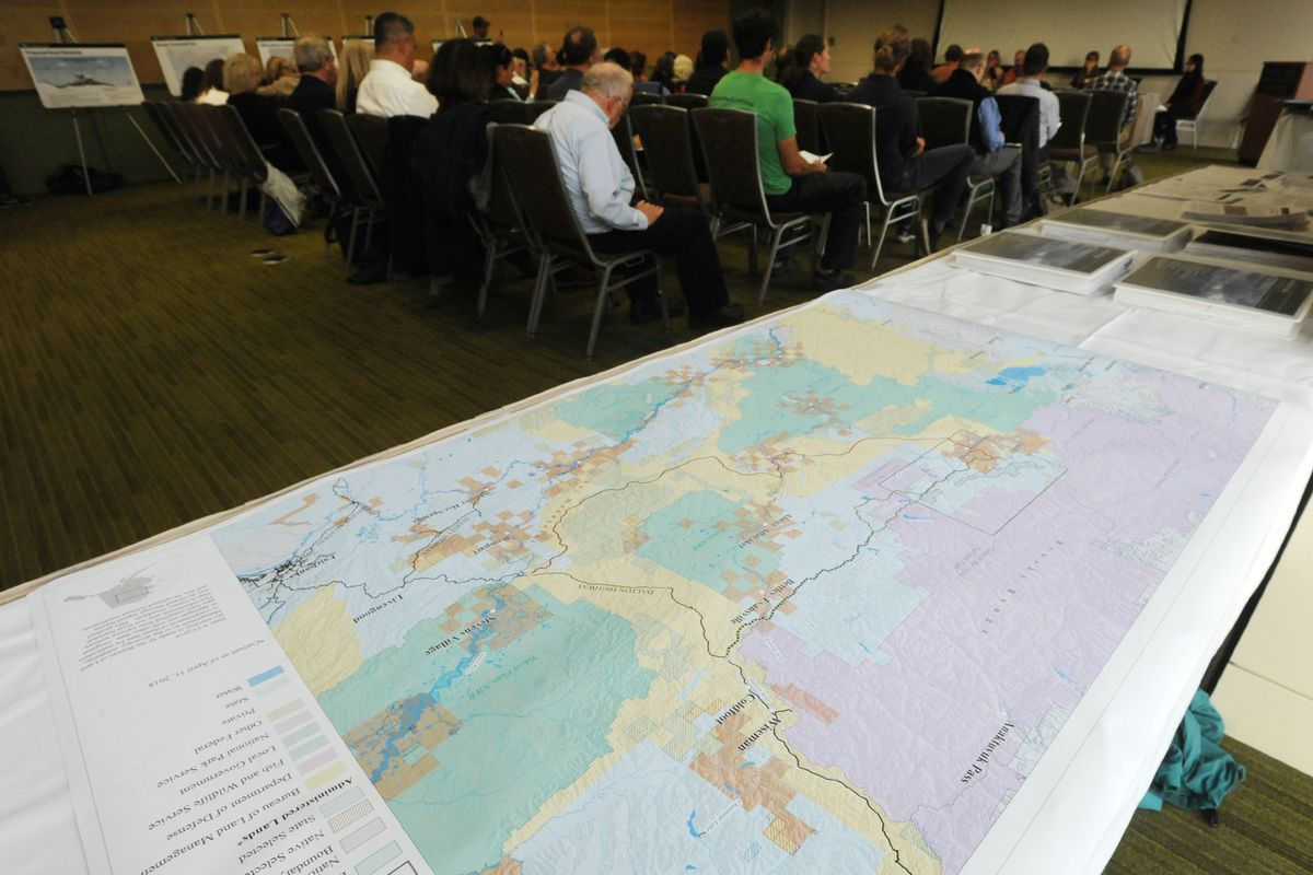 Map of the proposed Ambler road and alternative routes on display during the BLM public meeting/hearing at the Dena'ina Center in Anchorage on Tuesday evening, Sept. 10, 2019. (Bill Roth / ADN)