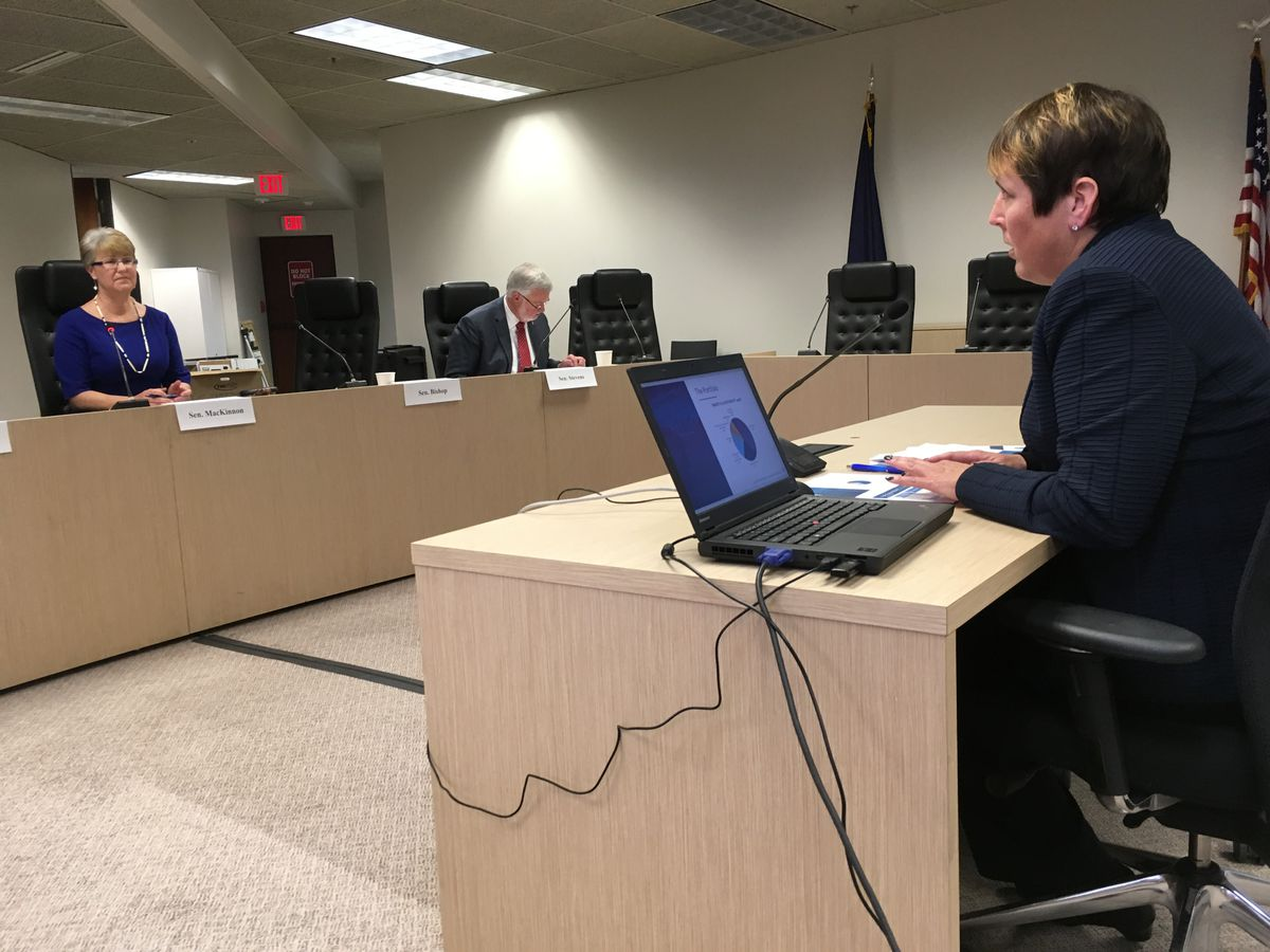 Angela Rodell, CEO of the Alaska Permanent Fund Corp., testifies Wednesday to the Senate Finance Committee in Anchorage. (Charles Wohlforth / Alaska Dispatch News)