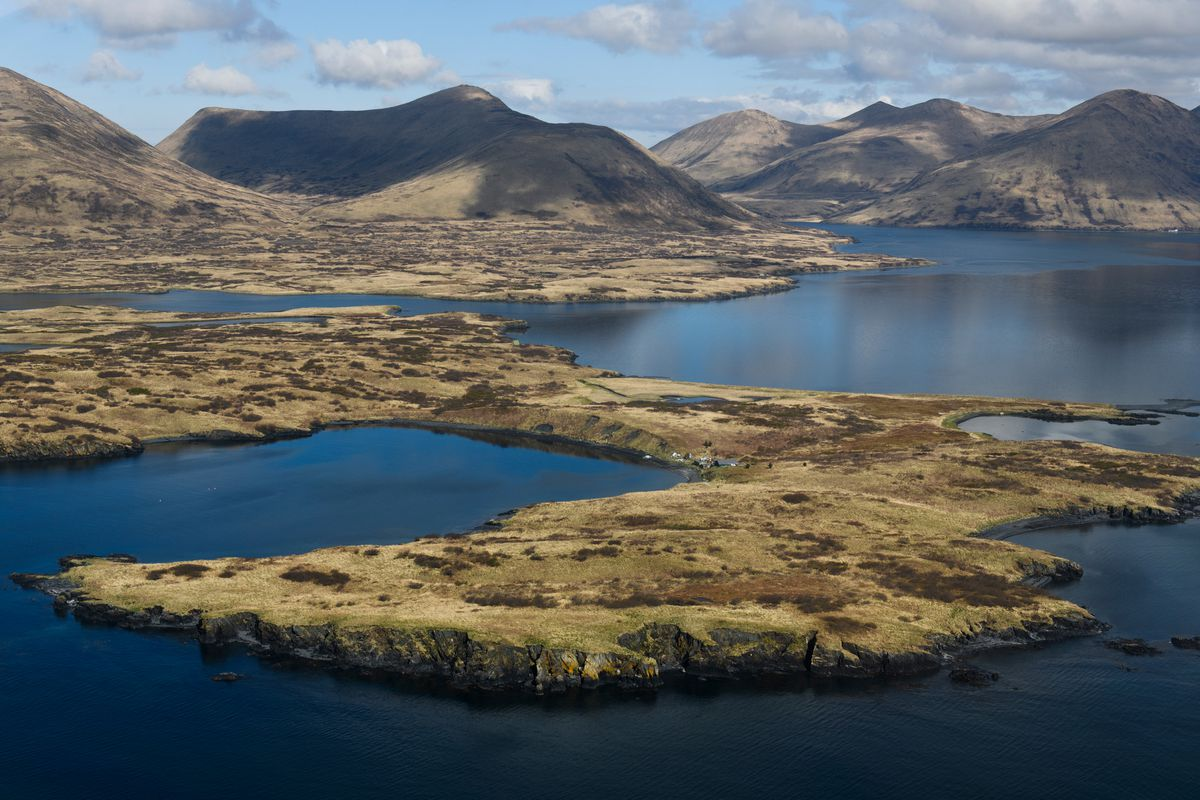 Bays and coves shelter parts of southwestern Kodiak Island from the North Pacific Ocean on May 14, 2019. (Marc Lester / ADN)