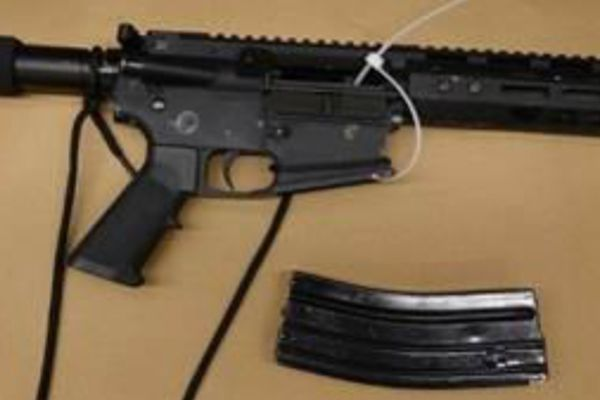 This AR-style ghost gun was used to fire on uniformed reserve officers as they were entering a marked police cruiser in the District of Columbia in December 2019. MUST CREDIT: Photo courtesy of D.C. Police