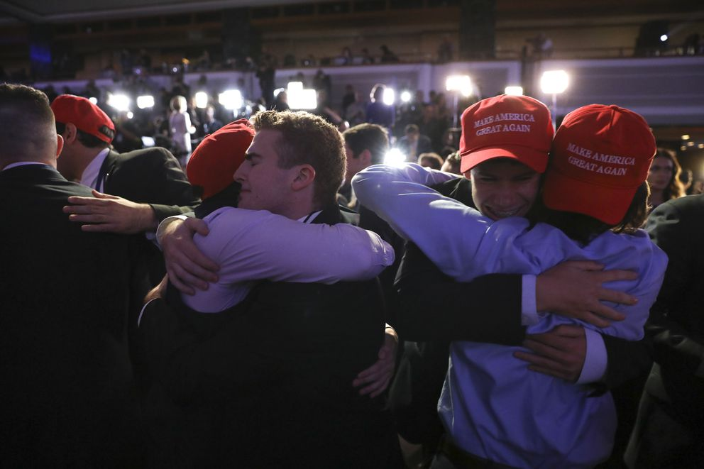 Supporters celebrate at Donald Trump's election night event at the New York Hilton Midtown in New York on Tuesday. (Damon Winter / The New York Times)