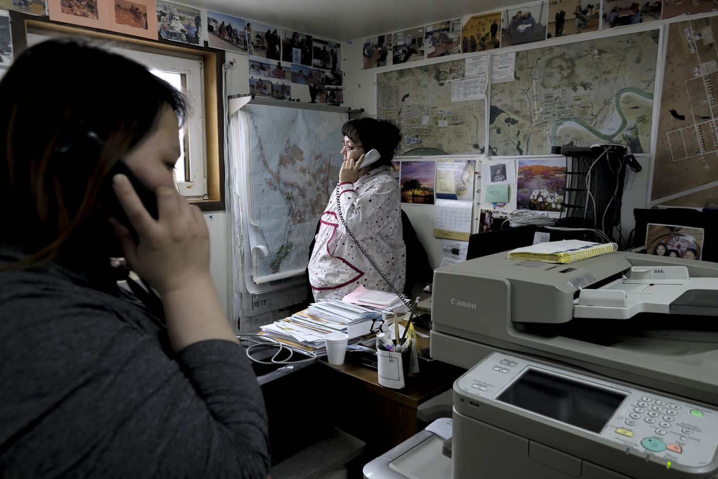 Martha Itta, Nuiqsut's tribal administrator, at her office. She wears the traditional kuspuk of her family's whaling crew. (Washington Post photo by Bonnie Jo Mount)