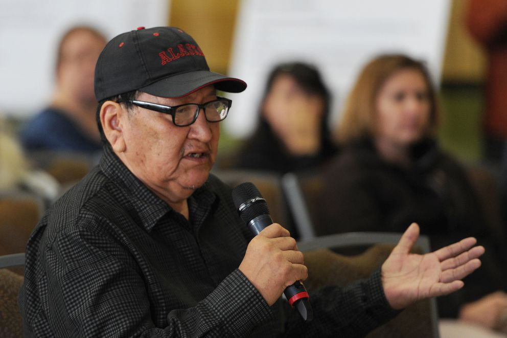 Peter Douglas Sr., originally from Ambler and now living in Anchorage, testifies during the BLM public meeting/hearing on the proposed Ambler Road Draft EIS at the Dena'ina Center in Anchorage on Tuesday evening, Sept. 10, 2019. (Bill Roth / ADN)