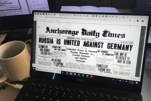 The front page of the Anchorage Times from July 23, 1917, shows up on a computer screen. (Charles Wohlforth / ADN)