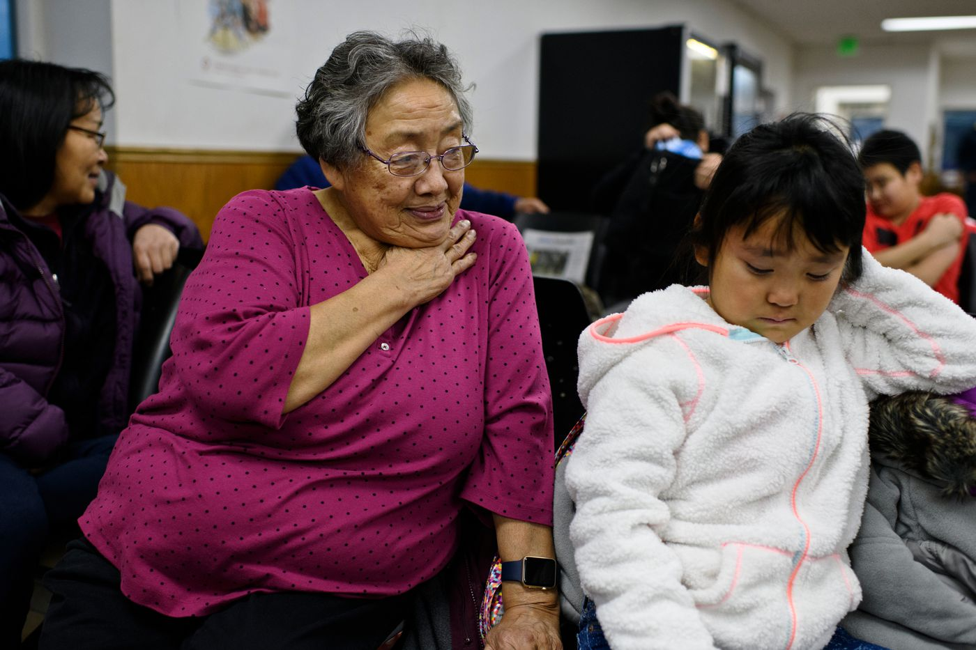 Hannah Paniyavluk Loon, of Kotzebue, was putting her granddaughter Willow, 7, on a plane back home to Selawik on December 2, 2018. (Marc Lester / ADN)