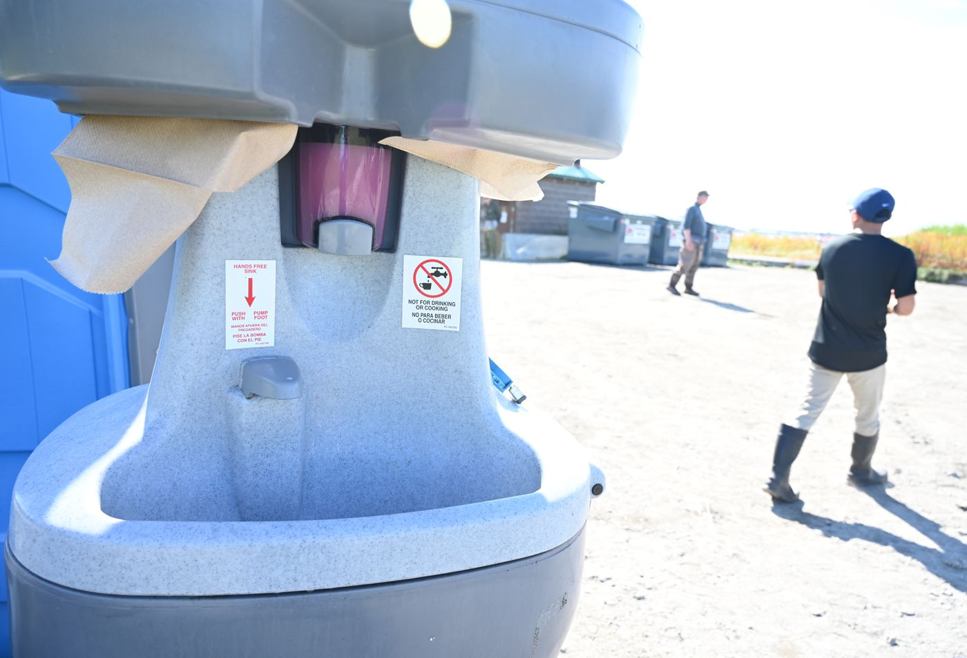 For the first time ever, the facilities in the Kenai River parking lot include hand-washing stations. (Anne Raup / ADN)