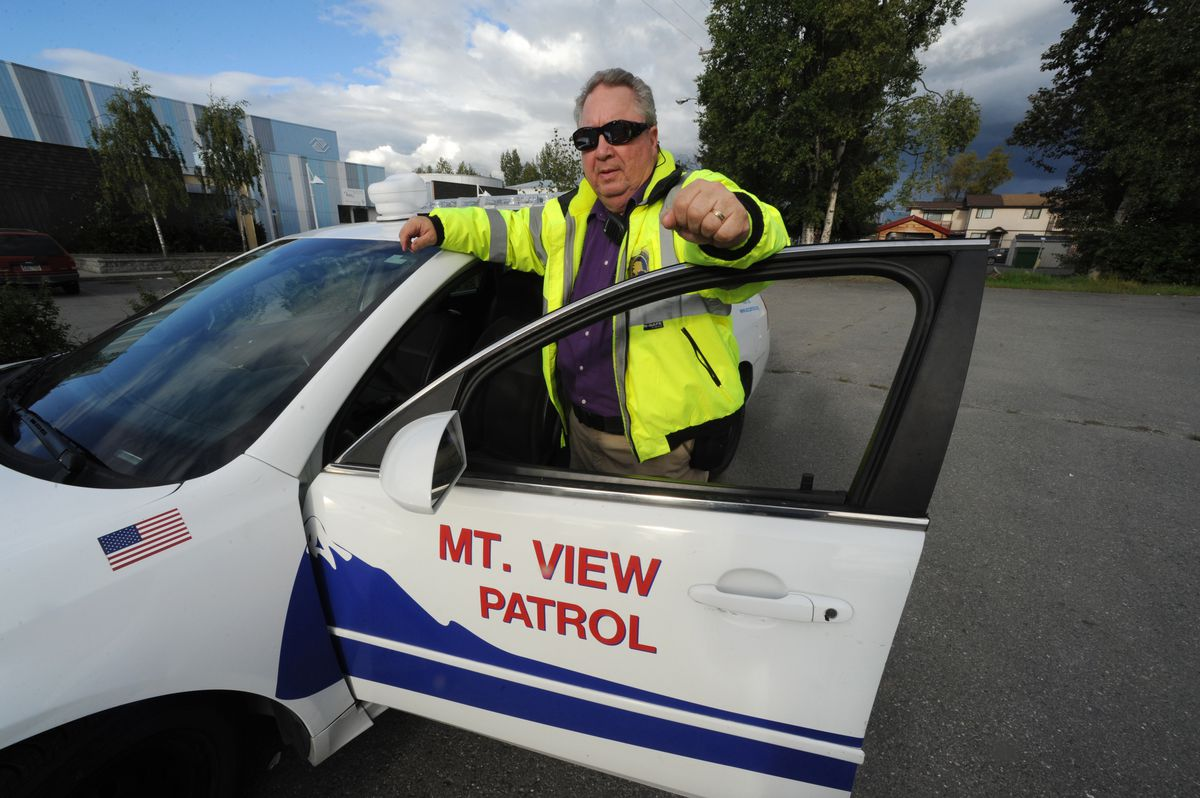 Bob Lincoln of the MountainView Community Patrol on Thursday, Aug. 18, 2016, who has patrolled the streets of Mountain View on weekends for the past 5 years. (Bill Roth / Alaska Dispatch News)