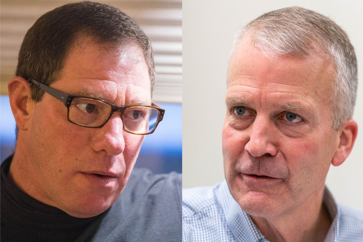 Independent Al Gross, left, and Sen. Dan Sullivan, a Republican, are running for the U.S. Senate in Alaska this year.