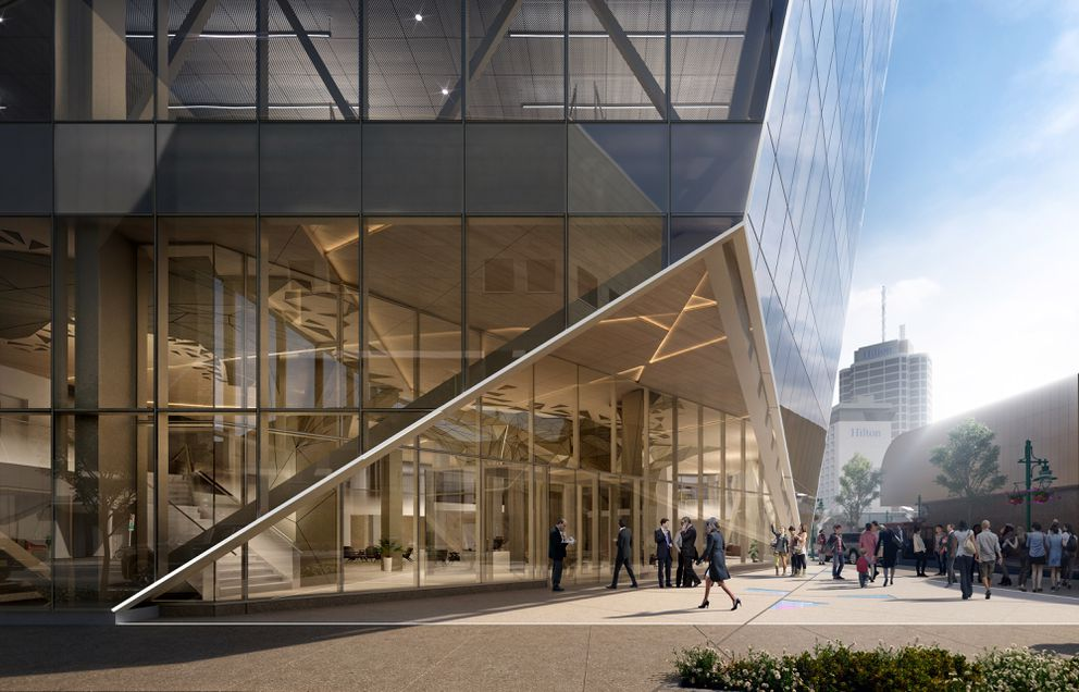 The building at 601 W. 5th Ave. (known as the Key Bank building) is being renovated. (Illustration provided by Perkins&Will architecture firm)