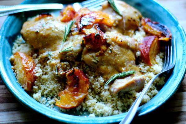 Rosemary honey mustard chicken with peaches served over couscous (Maya Wilson / Alaska from Scratch)