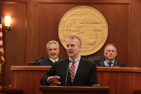 U.S. Sen. Dan Sullivan delivers his annual speech to the Alaska Legislature on Friday, February 24, 2017. Sullivan, speaking in the House chambers, discussed jobs and the state's economy, but didn't mention key issues facing Congress, including the fate of the Affordable Care Act. (Nathaniel Herz / Alaska Dispatch News)