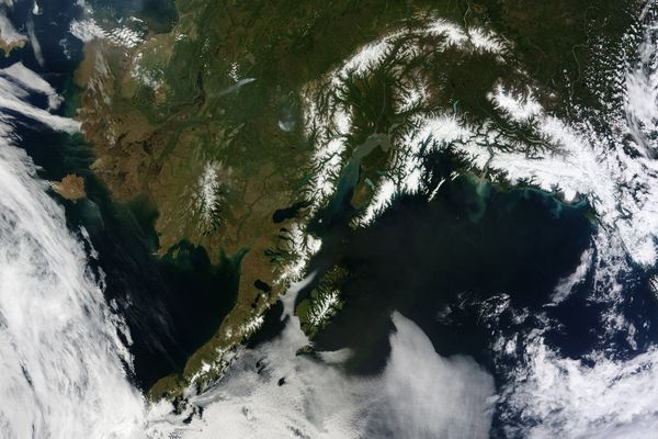 The absence of clouds exposed a striking tapestry of water, ice, land, forests, and even wildfires of Alaska. Snow-covered mountains such as the Alaska Range and Chugach Mountains were visible in southern Alaska, while the arc of mountains that make up the Brooks Range dominated the northern part of the state. The Yukon River -- the longest in Alaska and the third longest in the United States -- wound its way through the green boreal forests that inhabit the interior of the state. Plumes of sediment and glacial dust poured into the Gulf of Alaska from the Copper River. And Iliamna Lake, the largest in Alaska, was ice free. (Jeff Schmaltz/NASA/MCT)