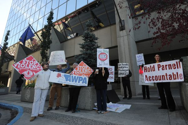 OPINION: Six steps to rebuild Alaska National Guard include require both governor and lawmakers to wake up. Pictured: Protesters demonstrate in September outside Gov. Sean Parnell's Anchorage office over his handling of the Guard scandal.