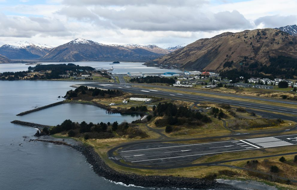 US Coast Guard Station Kodiak is visible during a flight on May 14, 2019. (Marc Lester / ADN)