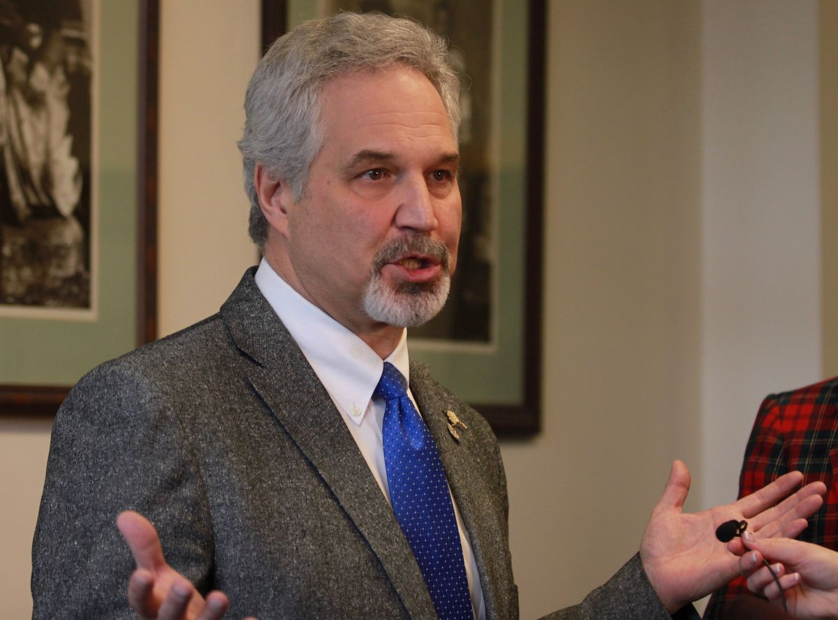 Alaska Senate President Pete Kelly speaking with reporters at the Capitol last month. (Nathaniel Herz / Alaska Dispatch News)