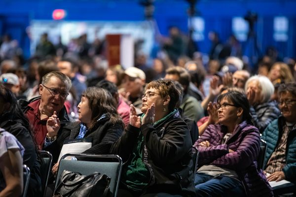 Delegates applaud a public safety session Thursday, Oct. 17, 2019 during the Alaska Federation of Natives convention at the Carlson Center in Fairbanks. (Loren Holmes / ADN)