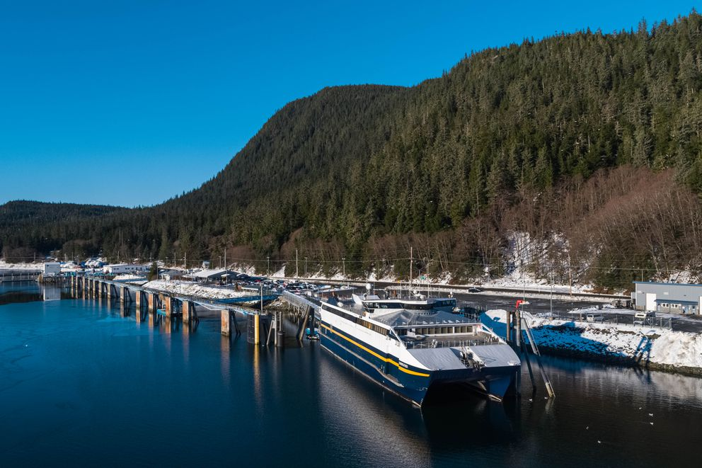 The FVF Fairweather, docked at the Juneau ferry terminal on Thursday, Jan. 17, 2019. (Loren Holmes / ADN)