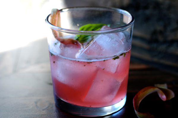 Rhubarb basil smash cocktail, made with rhubarb-infused gin. (Maya Wilson / Alaska from Scratch)