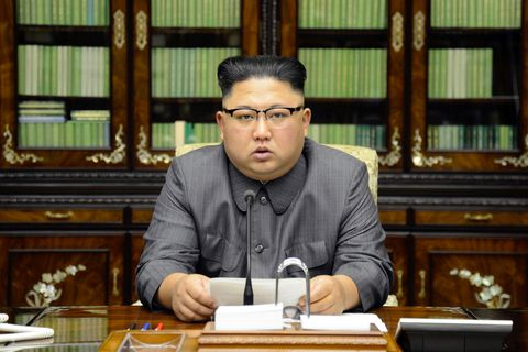North Korea's leader Kim Jong Un makes a statement regarding U.S. President Donald Trump's speech at the U.N. general assembly, in this undated photo released by North Korea's Korean Central News Agency (KCNA) in Pyongyang September 22, 2017. KCNA via REUTERS