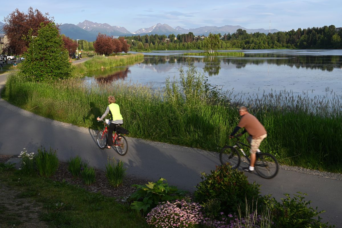 Bicyclists ride at Westchester Lagoon, July 15, 2020. (Anne Raup / ADN)