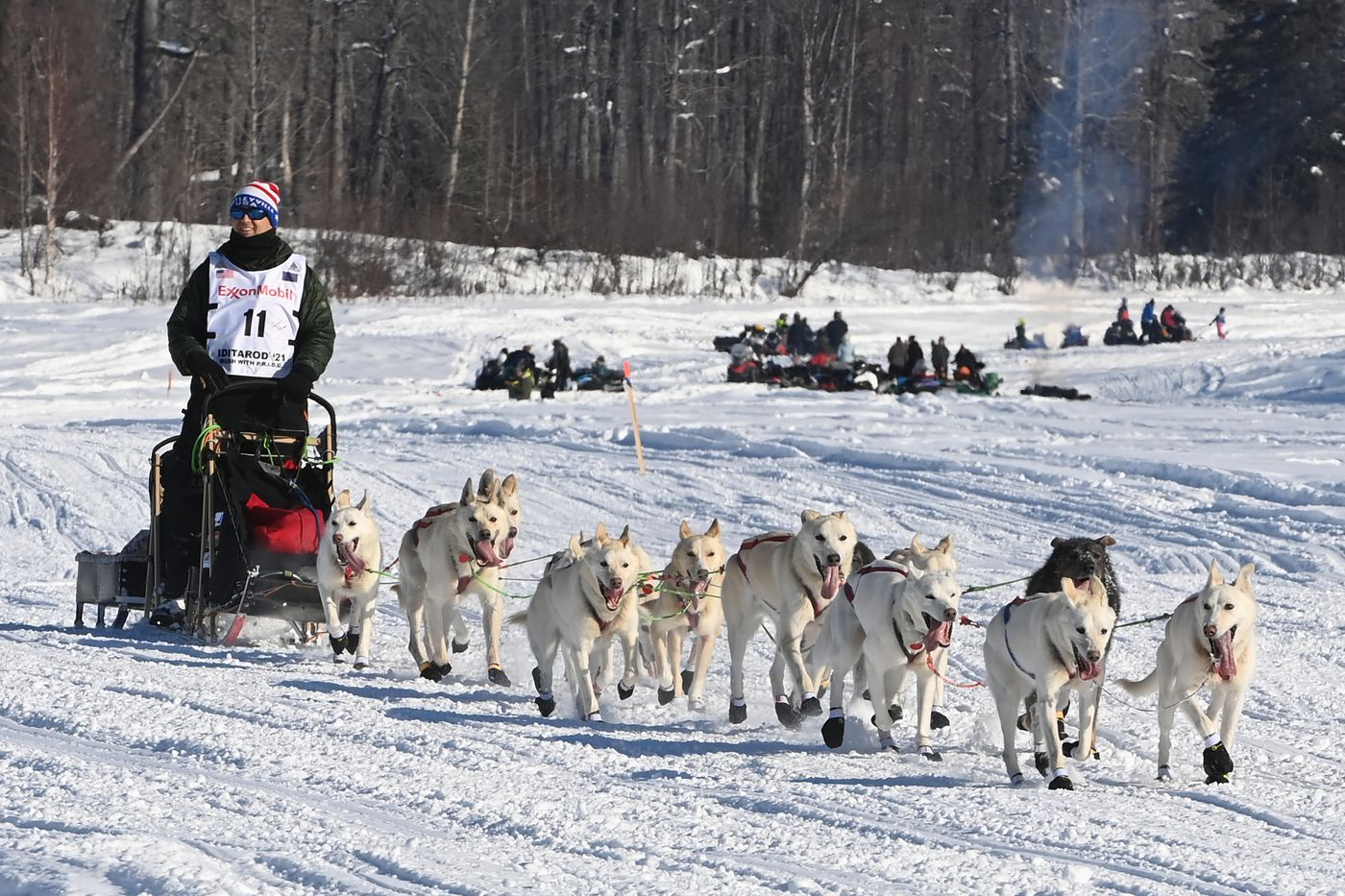 Gunnar Johnson and his dog team travel down the Susitna River during the Iditarod start on Sunday, March 7. (Bill Roth / ADN)