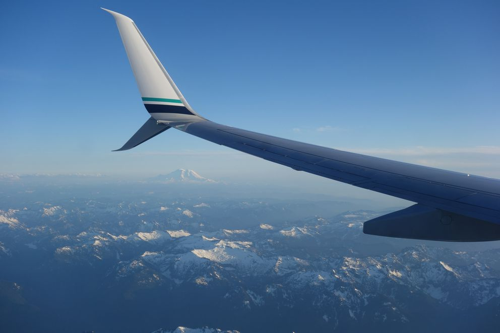 Mount Rainier, near Seattle, as seen from the window seat of a flight from Newark to Seattle. (Ned Rozell)