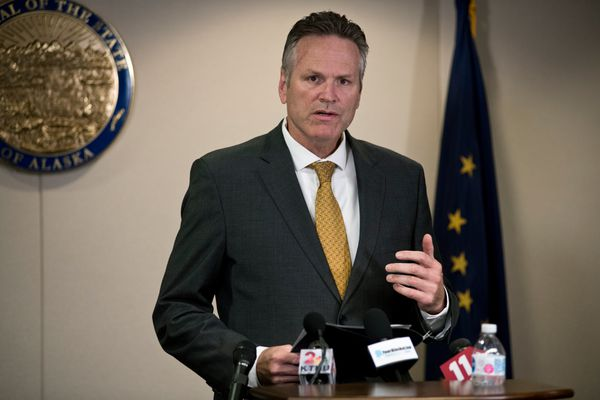 "Gov. Mike Dunleavy speaks at a press conference on September 26, 2019. Dunleavy issued a new administrative order requiring all unionized public employees to ""opt in"" to their union if they want to continue being a part of the union. (Marc Lester / ADN)"