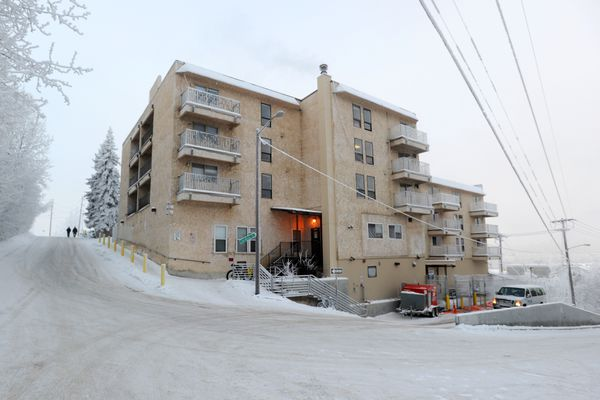 The Cordova Center transitional facility sits on the bluff above Ship Creek downtown, Jan. 12, 2017. (Erik Hill / ADN archive 2017)