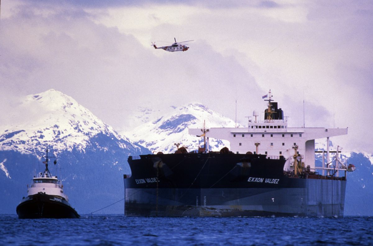 The Exxon Valdez is refloated and towed away from Bligh Reef Wednesday, April 5, 1989. The tugs towed the damaged ship toward Naked Island for preliminary repairs. (Erik Hill / ADN archive 1989)
