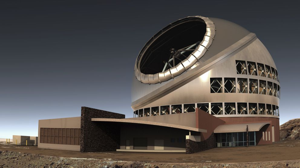 This undated file illustration provided by Thirty Meter Telescope shows the proposed giant telescope on Mauna Kea on Hawaii's Big Island. Construction on the giant telescope was expected to start again this month, after court battles over the site that Native Hawaiians consider sacred. (TMT via AP, File)