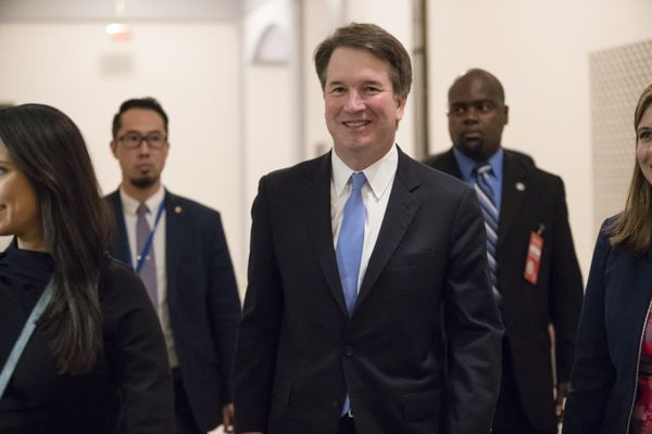 President Donald Trump's Supreme Court nominee, Judge Brett Kavanaugh, arrives to meet with Sen. Chris Coons, D-Del., a member of the Senate Judiciary Committee which will oversee his confirmation, on Capitol Hill in Washington, Thursday, Aug. 23, 2018. (AP Photo/J. Scott Applewhite)