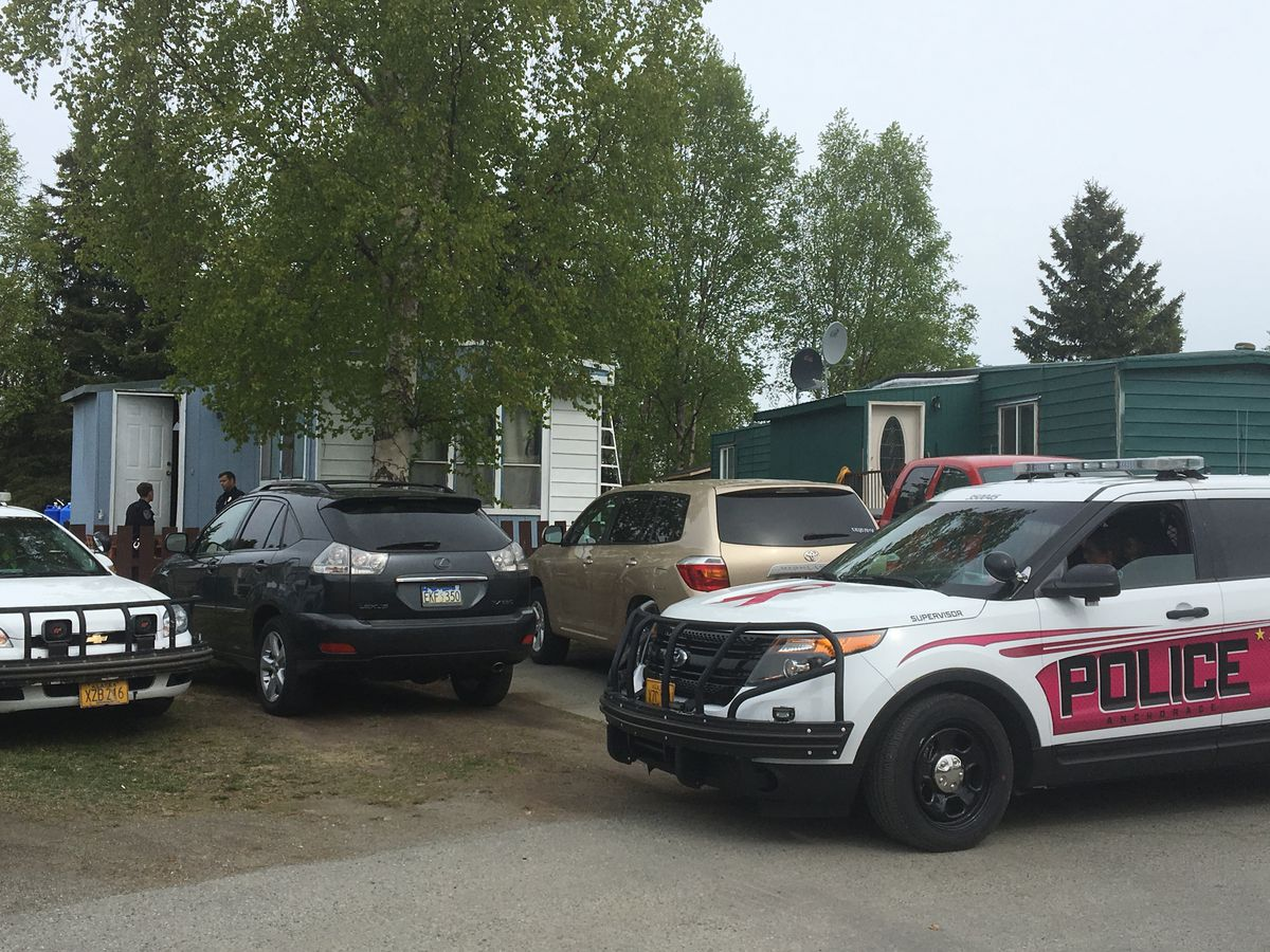 Anchorage police were investigating the death of a woman found inside a home at the Southwood Manor mobile home community in South Anchorage on Saturday, May 18, 2019.