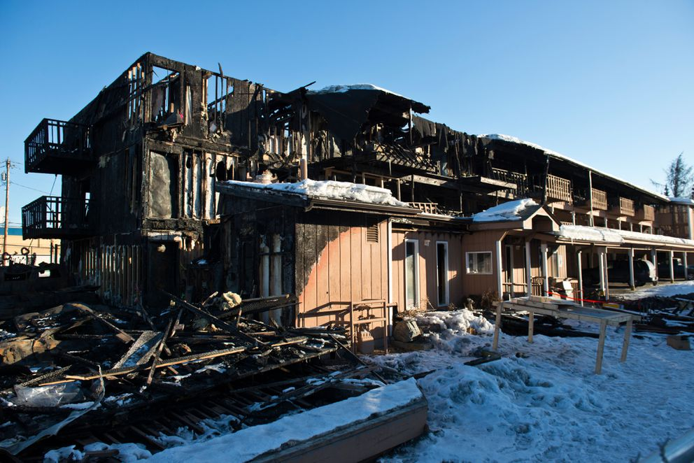 A month after the fire, much of Royal Suite Apartments is in ruins. Fire killed three people and destroyed much of Royal Suite Apartments in February 2017. (Marc Lester / Alaska Dispatch News)