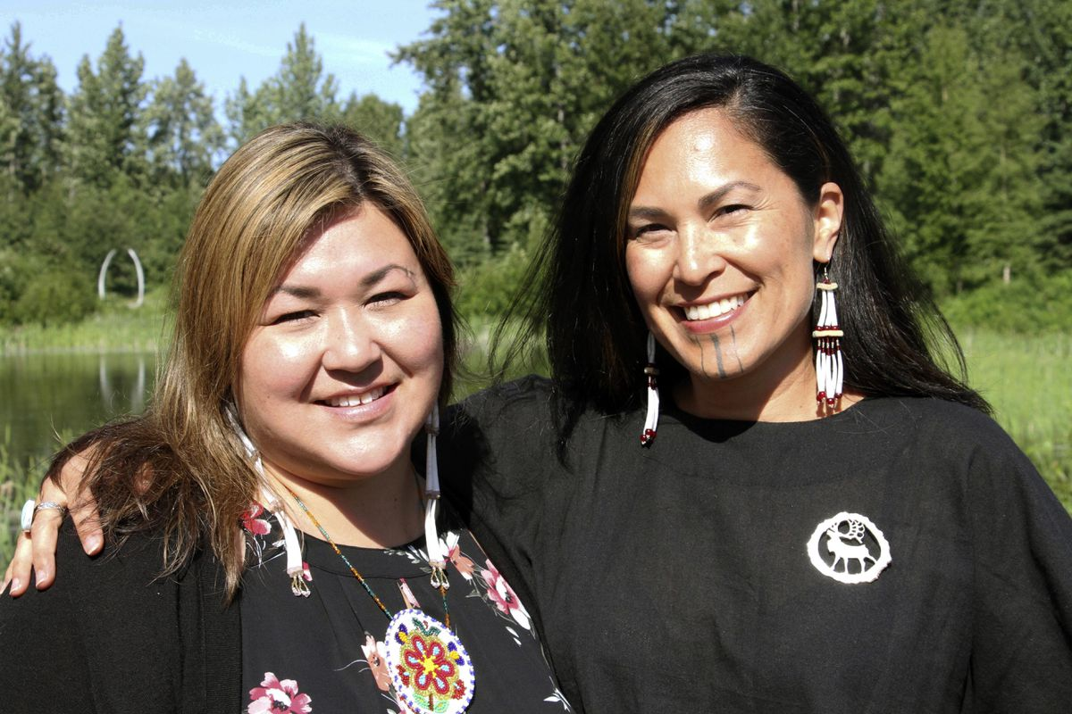 In this June 19, 2019, photo, Rochelle Adams, left, an Alaska Native cultural advisor, and Princess Johnson, the creative producer for the series