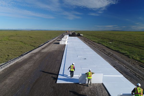 During construction on the Dalton Highway in 2017, workers put insulation down, then built the road on top of the insulation. This is to prevent impacts to the permafrost, to help keep it colder.(Photo provided by AK DOT)