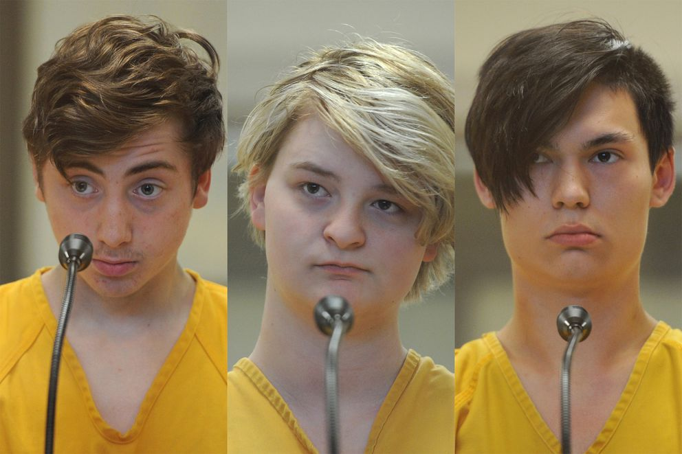 From left, Kayden McIntosh, 16, Denali Brehmer, 18, and Caleb Leyland, 19, have been charged with first-degree murder in the shooting death of 19-year-old Cynthia Hoffman at Thunderbird Falls last week. (Bill Roth / ADN)