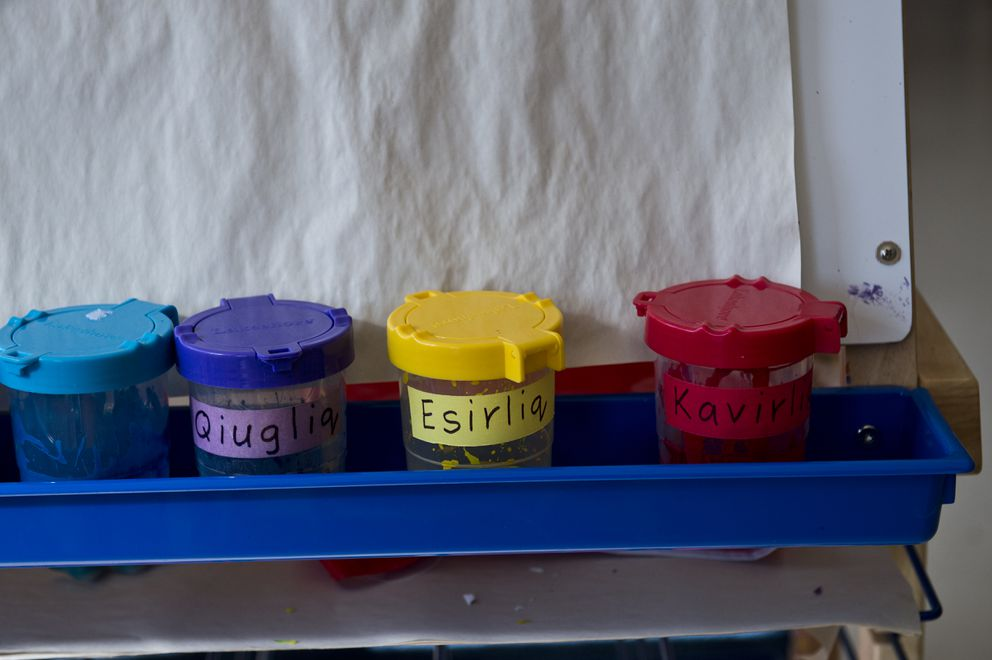 Paint jars are labeled with the Yup'ik word for the color in the Cook Inlet Native Head Start preschool classroom. (Marc Lester / ADN)