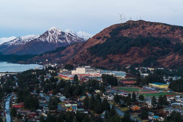 The city of Kodiak, photographed on Thursday morning, Jan. 24, 2019. (Loren Holmes / ADN)
