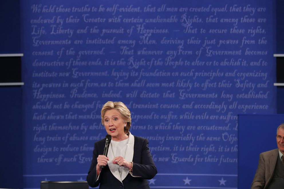 Hillary Clinton during her second presidential debate with Donald Trump at Washington University in St. Louis, Oct, 9, 2016. (Doug Mills / The New York Times)