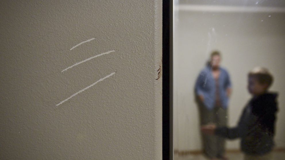 Claw marks were scratched into the wall of Zach Landis' bedroom after a black bear broke in through a window. (Marc Lester / ADN)