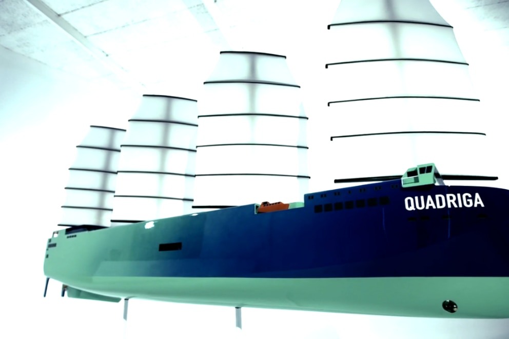 The German company Next Generation Cargo plans to farm Atlantic salmon above five, 540-foot sailboats that will sail in international waters. The first sailboat the company is building is called the Quadriga. (Courtesy)