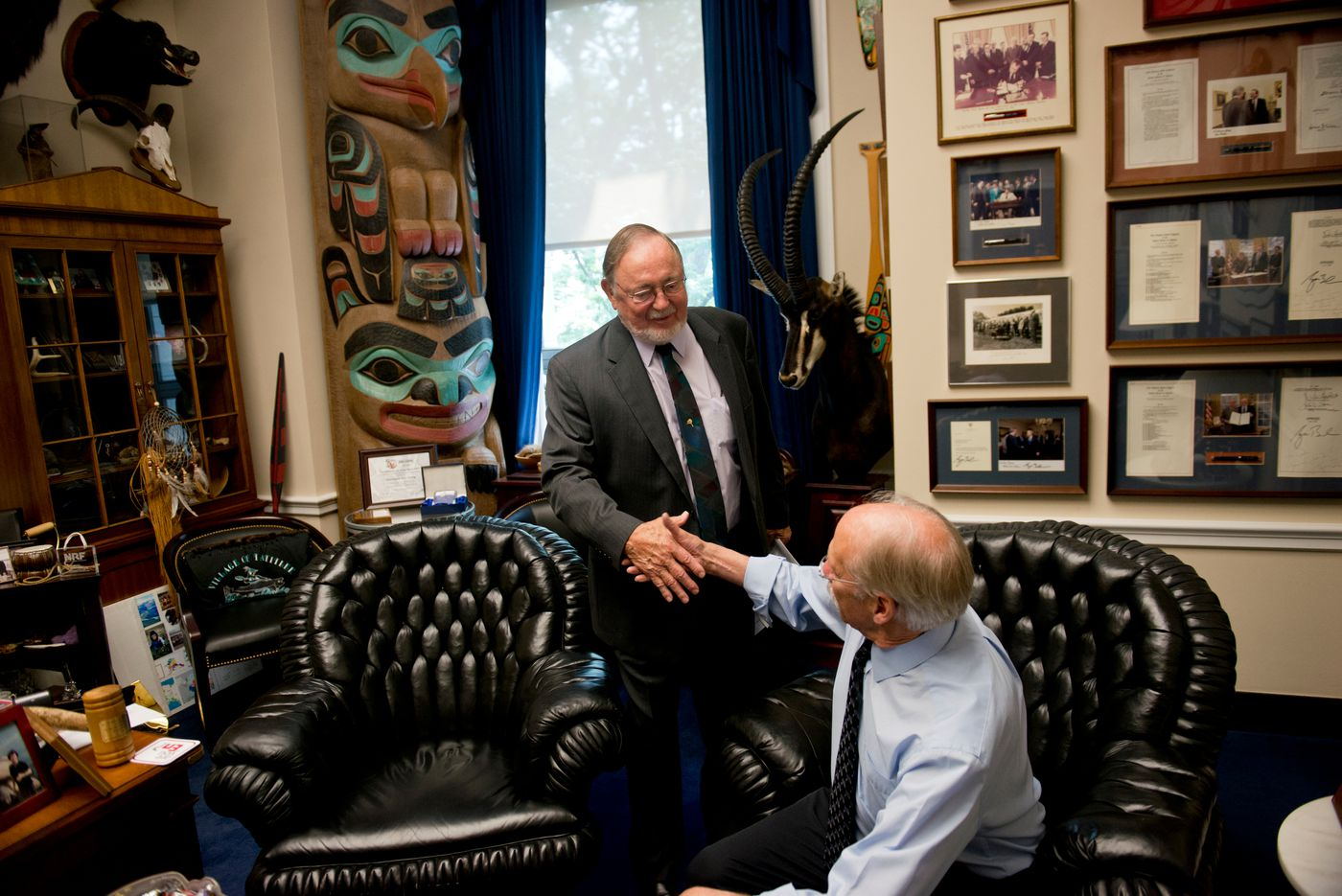 Rep. Don Young greets Mayor Luke Hopkins of the Fairbanks North Star Borough on Thursday, June 25, 2015. (Marc Lester / Alaska Dispatch News )