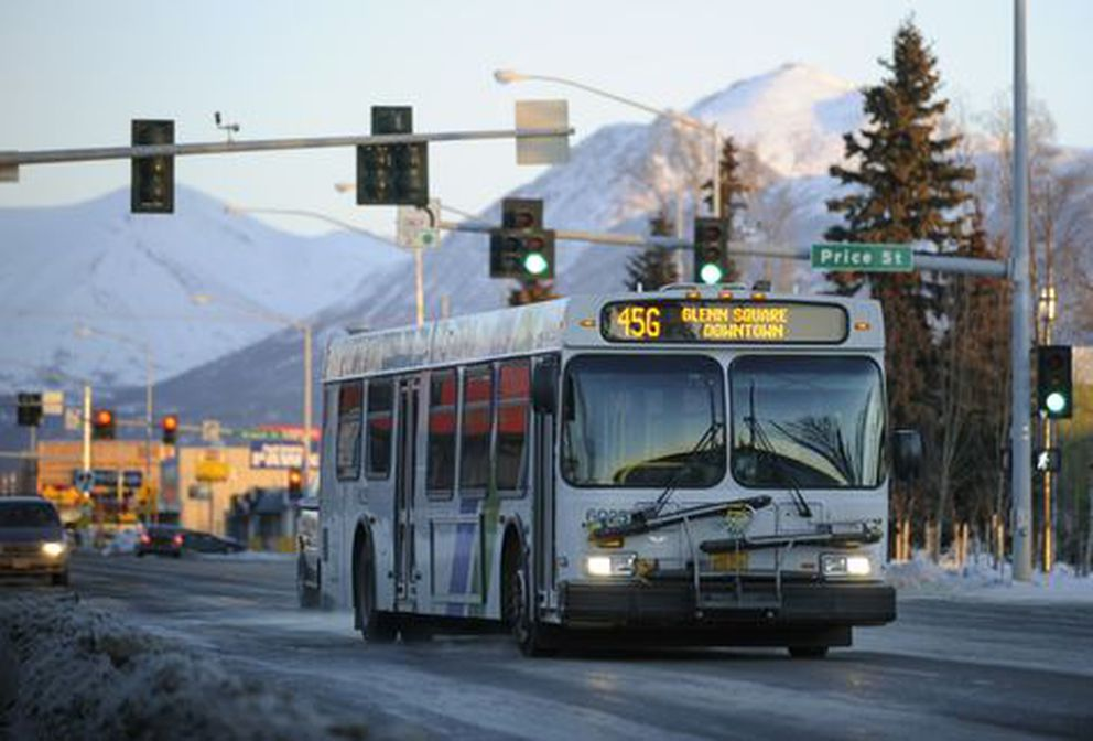 A People Mover bus cruises through the Mountain View neighborhood in Anchorage. Feb 23, 2011. (Marc Lester / ADN)