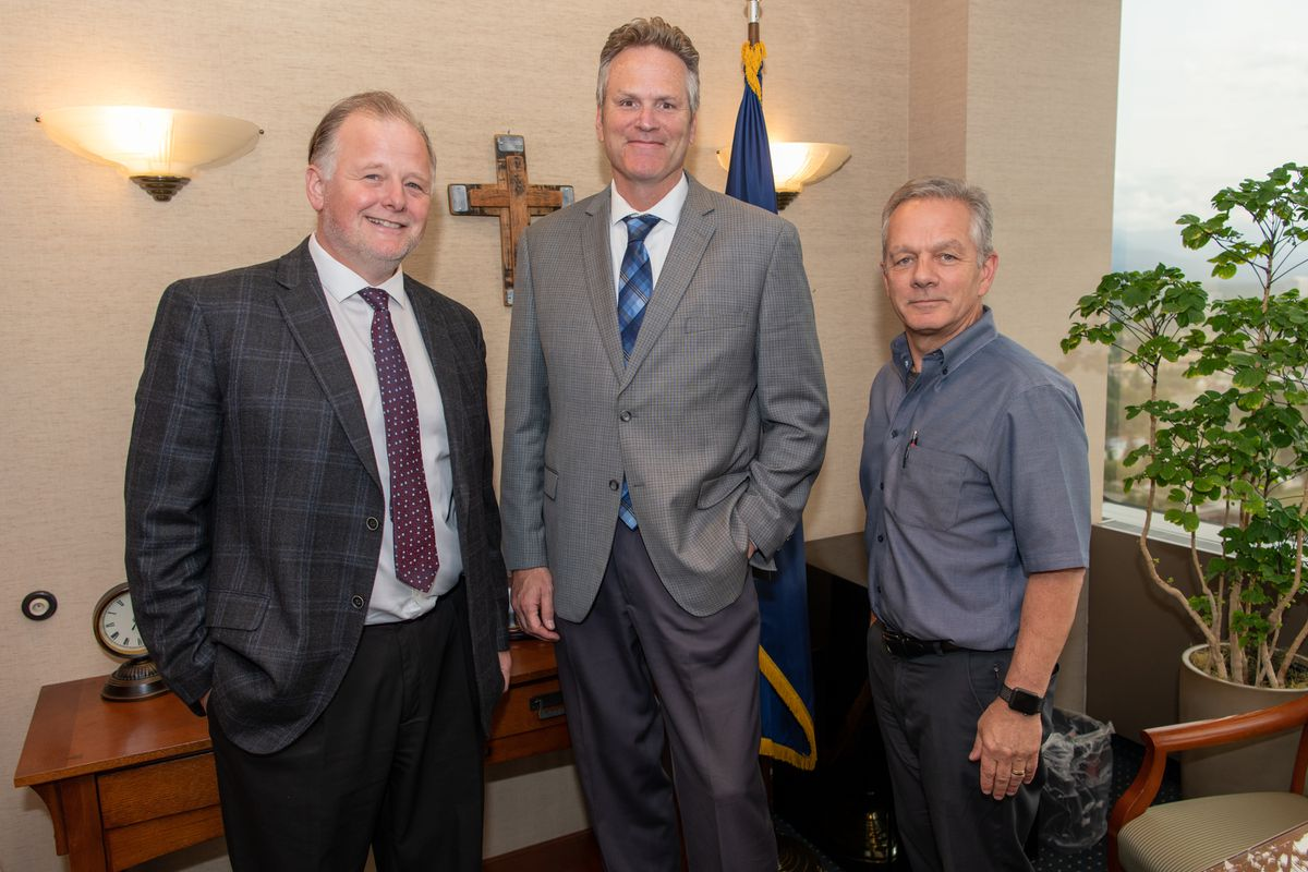 Alaska Gov. Mike Dunleavy (center) is seen with departing chief of staff Tuckerman Babcock (left) and incoming chief of staff Ben Stevens (right) on Wednesday, July 31, 2019 in the governor's Anchorage office. (Photo from office of the governor)