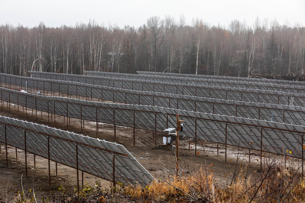 A 900kW solar photovoltaic expansion is underway Sunday, Oct. 20, 2019 at the Willow Solar Farm. The expansion is adjacent to an existing 100kW pilot project built in 2018. (Loren Holmes / ADN)