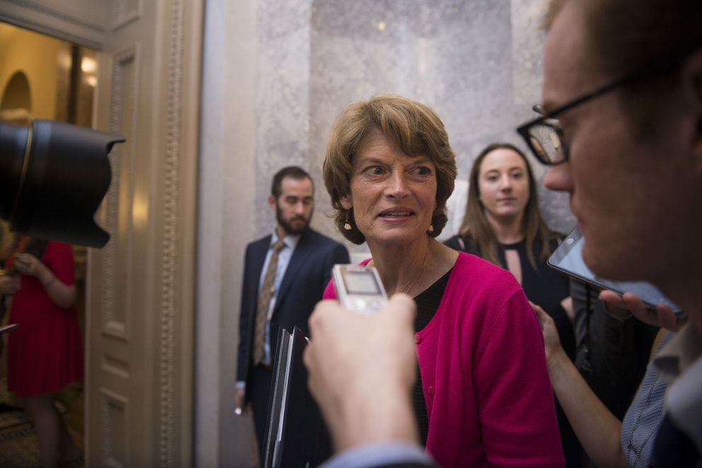 Sen. Lisa Murkowski (R-Alaska) speaks to reporters after voting against a slimmed-down Affordable Care Act repeal measure on Capitol Hill, in Washington, in the early morning hours on July 28, 2017. The party's senators trimmed their vision of a bill to repeal the health law, but Murkowski and two other Republicans turned on the bill in the dead of night. (Gabriella Demczuk/The New York Times)