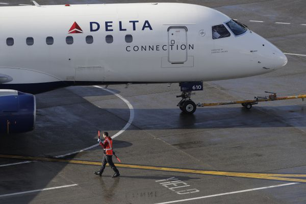 A ramp worker guides a Delta Air Lines plane, Tuesday, Feb. 5, 2019, at Seattle-Tacoma International Airport in Seattle. (AP Photo/Ted S. Warren)