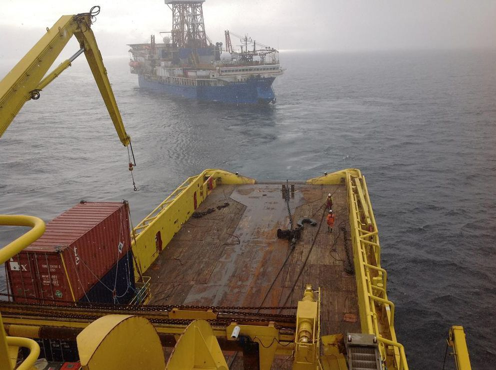 The Noble Discoverer prepares for its initial Chukchi Sea drilling operation in this view from the deck of the Tor Viking icebreaker September 8, 2012. (Shell handout photo)